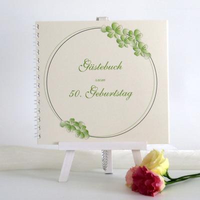 "Geburtstagsgästebuch ""Blumenkranz"" grün"