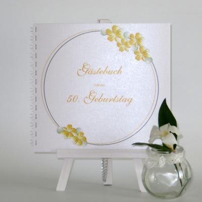 """Geburtstagsgästebuch """"Blumenkranz"""" gelb"""