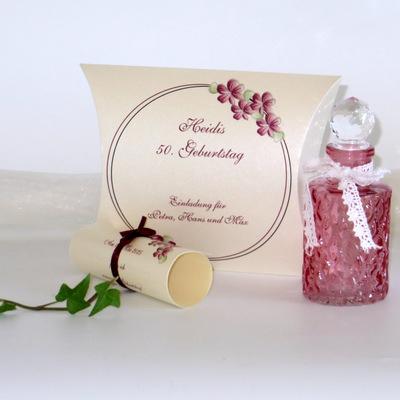 """Geburtstagseinladungsbox """"Blumenkranz"""" bordeaux"""