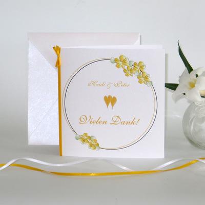 """Dankeskarte """"Blumenkranz"""" gelb"""
