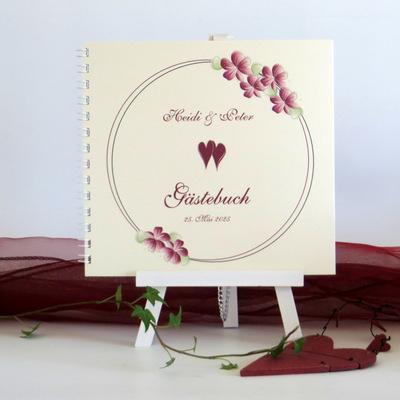 "Gästebuch ""Blumenkranz"" bordeaux"