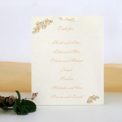 """Gruppentischkarte """"Blumenkranz"""" apricot"""