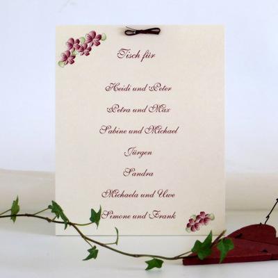"""Gruppentischkarte """"Blumenkranz"""" bordeaux"""
