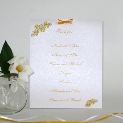 """Gruppentischkarte """"Blumenkranz"""" gelb"""