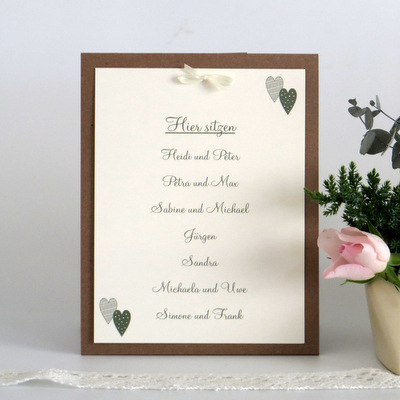 """Gruppentischkarte """"Nein wir heiraten"""" grün"""