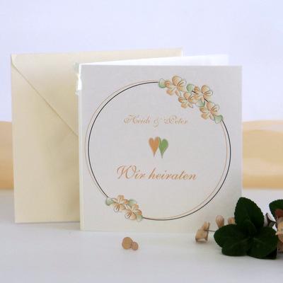 """Hochzeitseinladung """"Blumenkranz"""" apricot"""