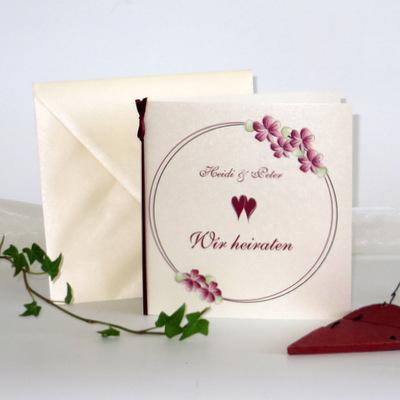 """Hochzeitseinladung """"Blumenkranz"""" bordeaux"""