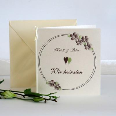 """Hochzeitseinladung """"Blumenkranz"""" braun"""