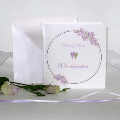 """Hochzeitseinladung """"Blumenkranz"""" flieder"""