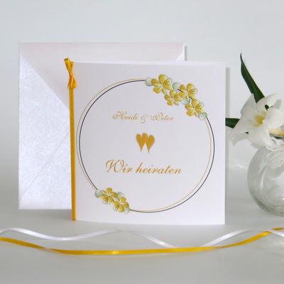 """Hochzeitseinladung """"Blumenkranz"""" gelb"""