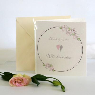 """Hochzeitseinladung """"Blumenkranz"""" rosa"""