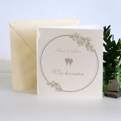 """Hochzeitseinladung """"Blumenkranz"""" taupe"""