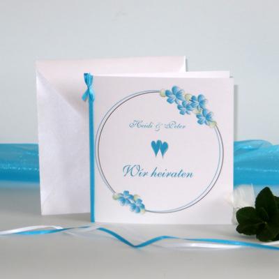 """Hochzeitseinladung """"Blumenkranz"""" türkis"""