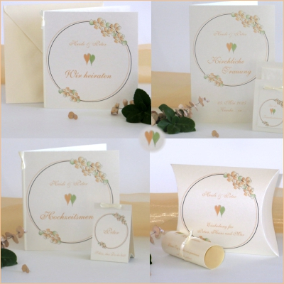 """Hochzeitskollektion """"Blumenkranz"""" apricot"""