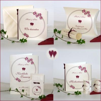 """Kartenset mit der Hochzeitseinladung """"Blumenkranz"""" bordeaux"""