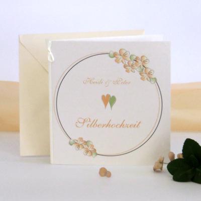 """Einladung zur Silberhochzeit """"Blumenkranz"""" apricot"""