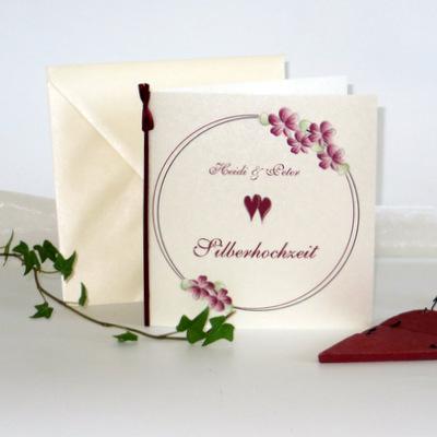 """Einladung zur Silberhochzeit """"Blumenkranz"""" bordeaux"""