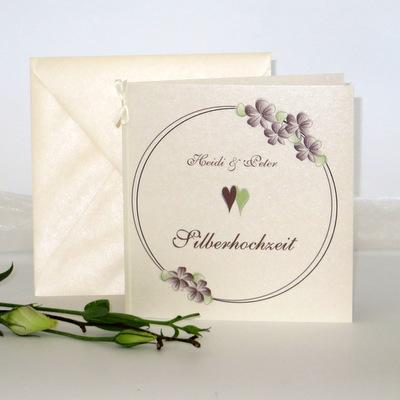 """Einladung zur Silberhochzeit """"Blumenkranz"""" braun"""