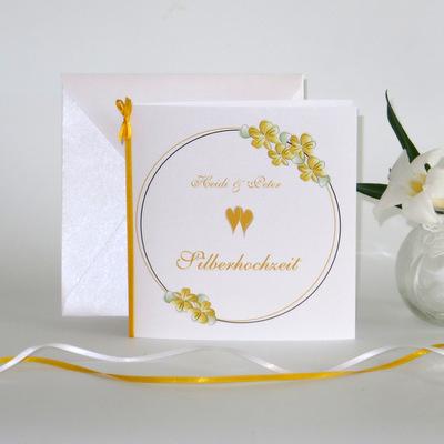 """Einladung zur Silberhochzeit """"Blumenkranz"""" gelb"""