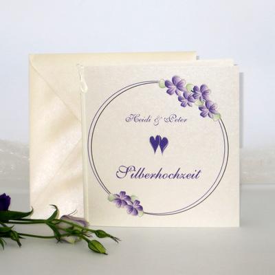 """Einladung zur Silberhochzeit """"Blumenkranz"""" lila"""