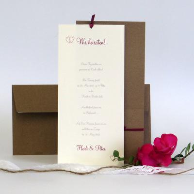 """Hochzeitseinladung """"Herzgräser"""" pink"""
