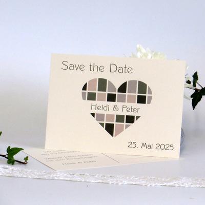 "Save the Date ""Karoherz"" grün"