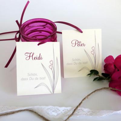 """Tischkarte """"Herzgräser"""" pink"""