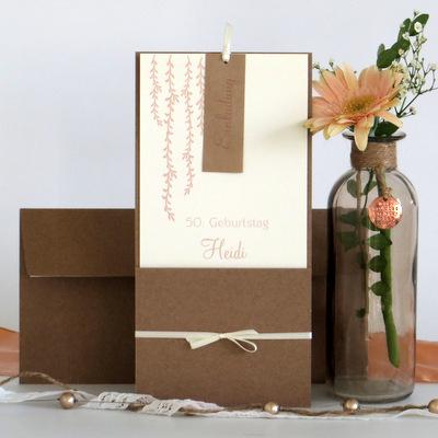 Rustikales Kartenset für den Geburtstag mit Einladungen, Tischkarten und Menükarte