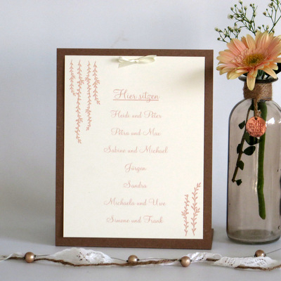 "Gruppentischkarte ""Botanik"" apricot"