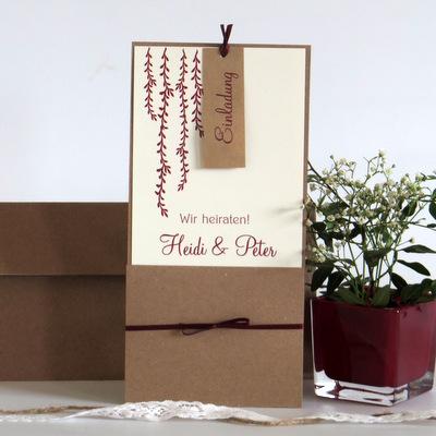 """Hochzeitseinladung """"Botanik"""" rot"""