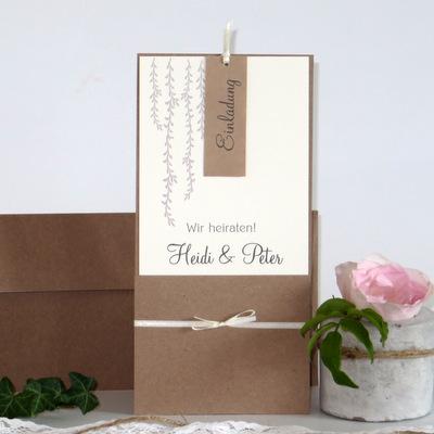 """Hochzeitseinladung """"Botanik"""" taupe"""