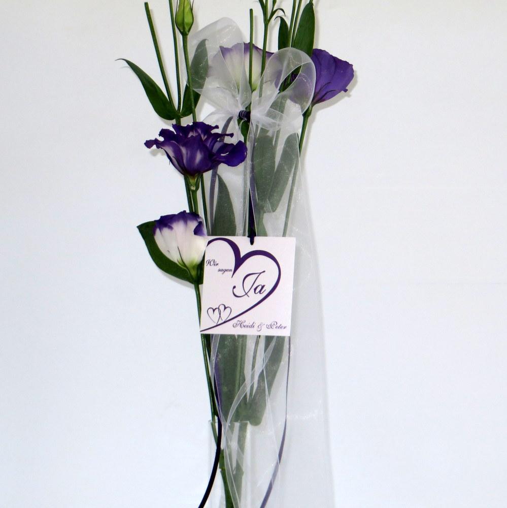Hochzeitsschleife Herzschlag in lila