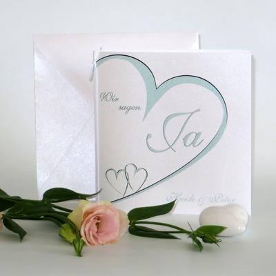 """Hochzeitseinladung """"Herzschlag"""" mint"""