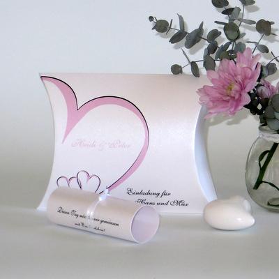 """Hochzeitseinladungsbox """"Herzschlag"""" rosa"""
