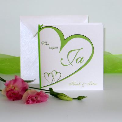"""Hochzeitseinladung """"Herzschlag"""" grün"""