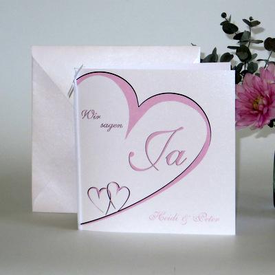 """Hochzeitseinladung """"Herzschlag"""" rosa"""