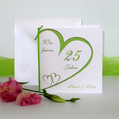"""Einladung zur Silberhochzeit """"Herzschlag"""" grün"""