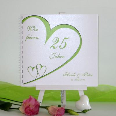 """Gästebuch zur Silberhochzeit """"Herzschlag"""" grün"""