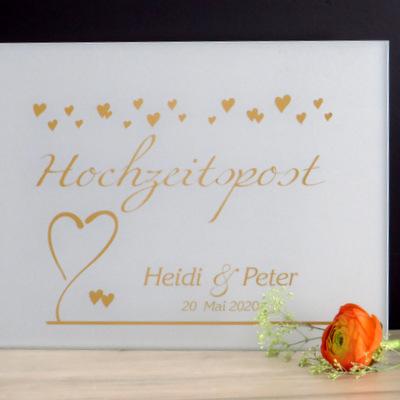 """Beschriftung """"Hochzeitspost"""" herzig"""