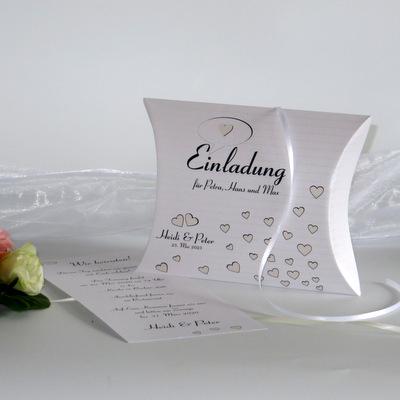 """Hochzeitseinladungsbox """"Herzzeit"""" creme"""