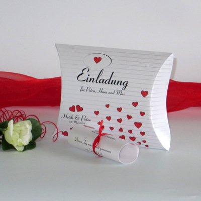 """Hochzeitseinladungsbox """"Herzzeit"""" rot"""