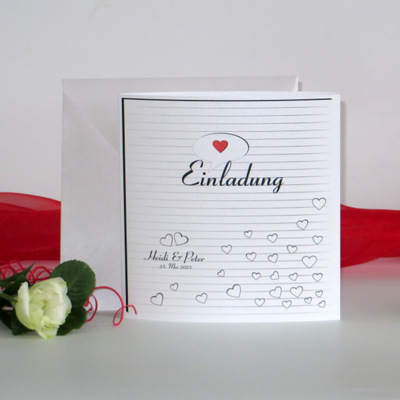 """Hochzeitseinladung """"Herzzeit"""" rot"""