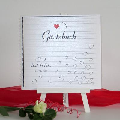 """Gästebuch """"Herzzeit"""" rot"""