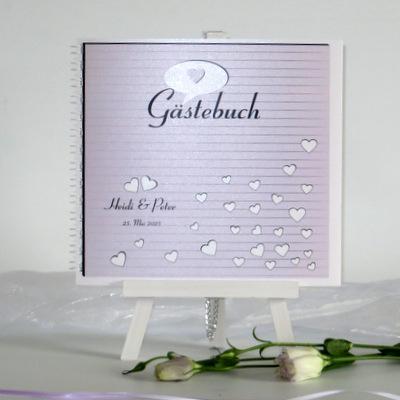 """Gästebuch """"Herzzeit"""" flieder"""