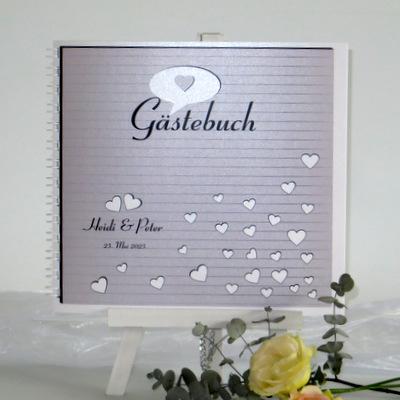 """Gästebuch """"Herzzeit"""" taupe"""