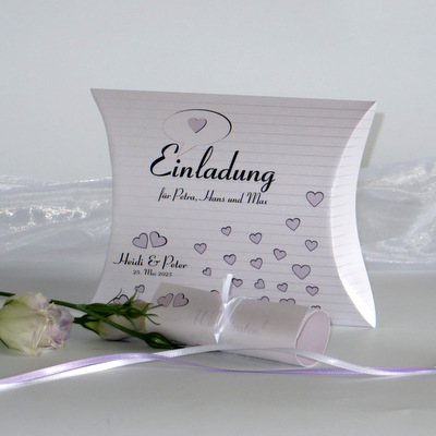 """Hochzeitseinladungsbox """"Herzzeit"""" flieder"""
