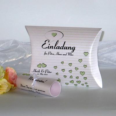 """Hochzeitseinladungsbox """"Herzzeit"""" grün"""