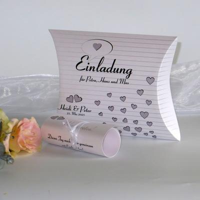 """Hochzeitseinladungsbox """"Herzzeit"""" taupe"""