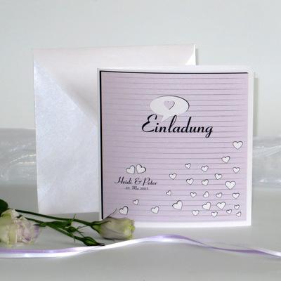 """Hochzeitseinladung """"Herzzeit"""" flieder"""
