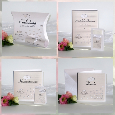 Festliches Hochzeitskartenset in dezentem creme sowie zahlreichen Herzchen und trendigen Linien.